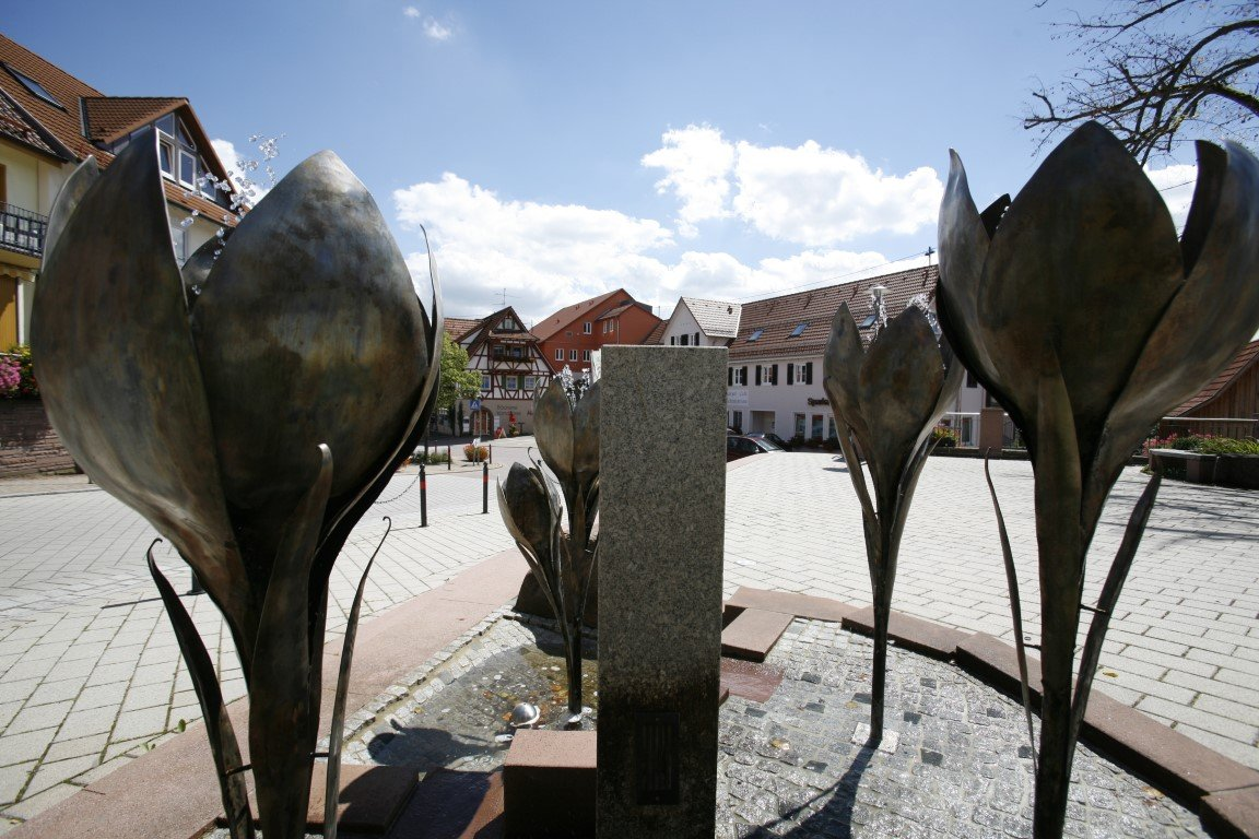 Krokusbrunnen am Zavelsteiner Marktplatz
