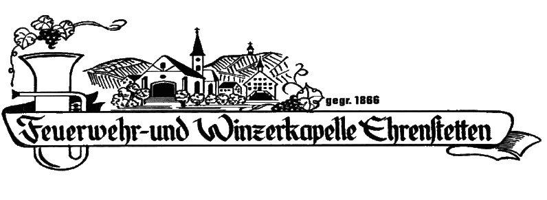Logo der Kapelle mit Dorf und einem Instrument skizziert, der Name als Banner darunter