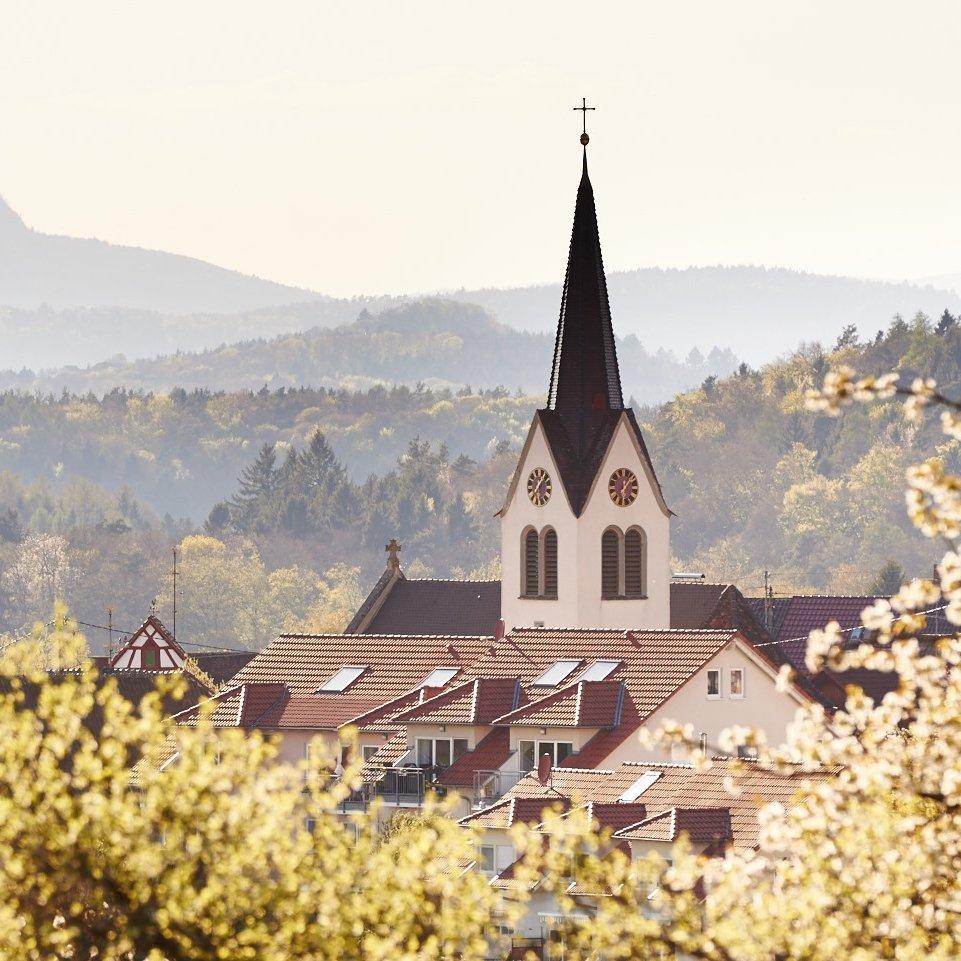 Blick auf den Kirchturm von Radolfzell Güttingen