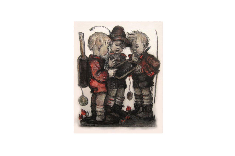 Ein schwieriges Problem.. lösen die berühmten Figuren von Berta Hummel. Zu sehen im Berta-Hummel-Museum im Hummelhaus in Massing.