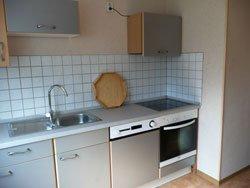 Graue Küche mit Herd, Spülmaschine und Spüle