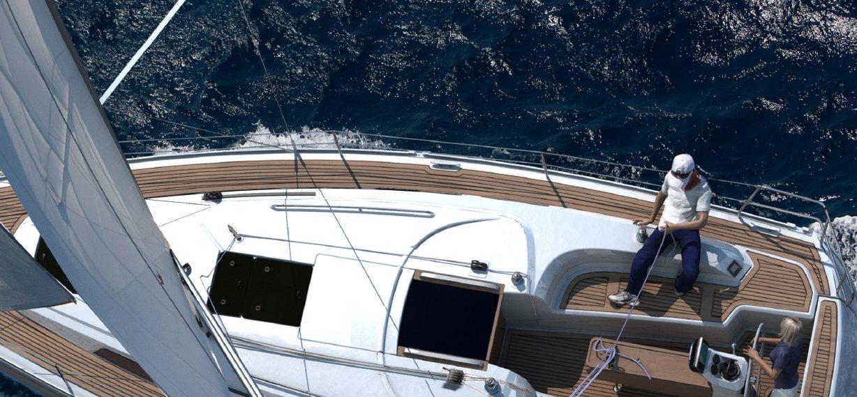 Seegelschule Seige-Segelboot im Wind