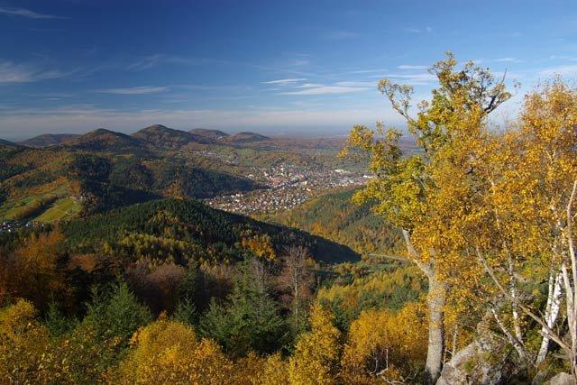 Blick ins Murgtal und die umliegenden Höhen in herbstlichen Laub