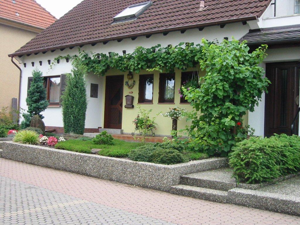 Frontansicht mit Vorgarten und rankenden Pflanzen an der Hauswand