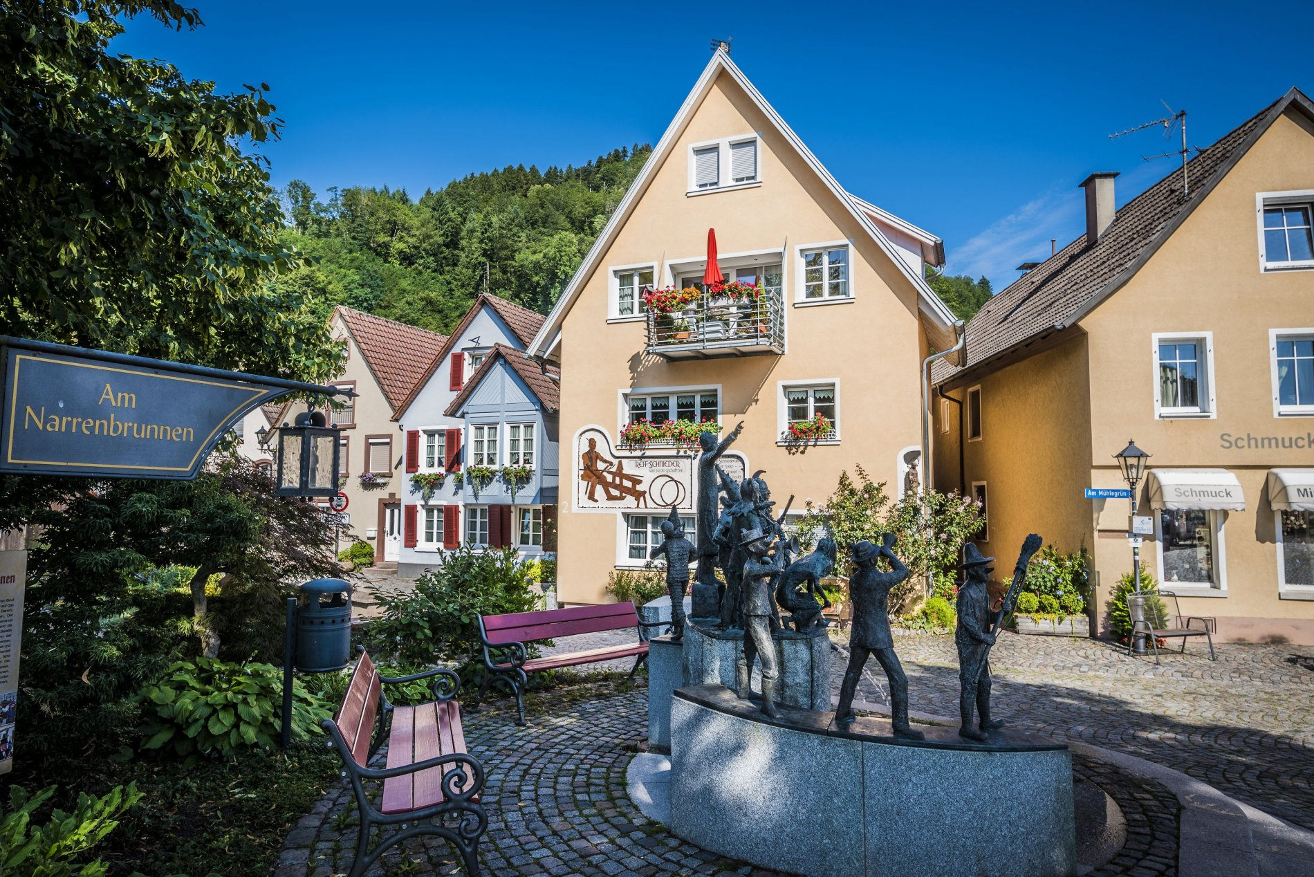Narrenbrunnen Sicht vom Gassensteg