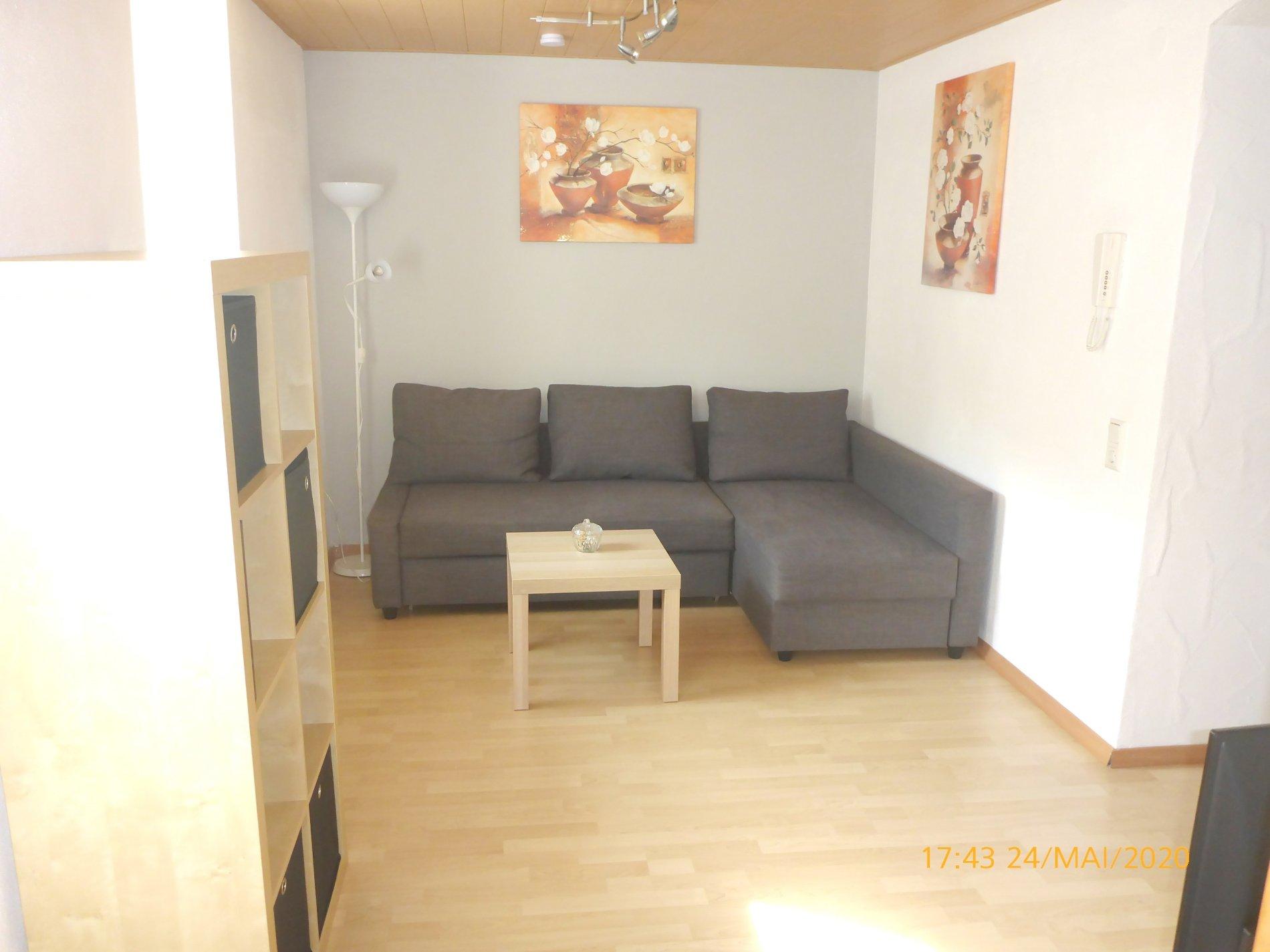 Graues Sofa mit Wohnzimmertisch und Regal