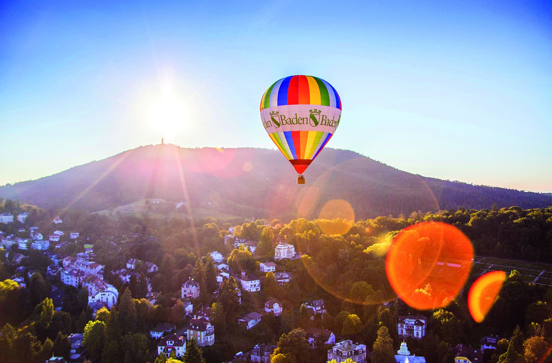 Colourful balloon above Baden-Baden's exclusive residential area