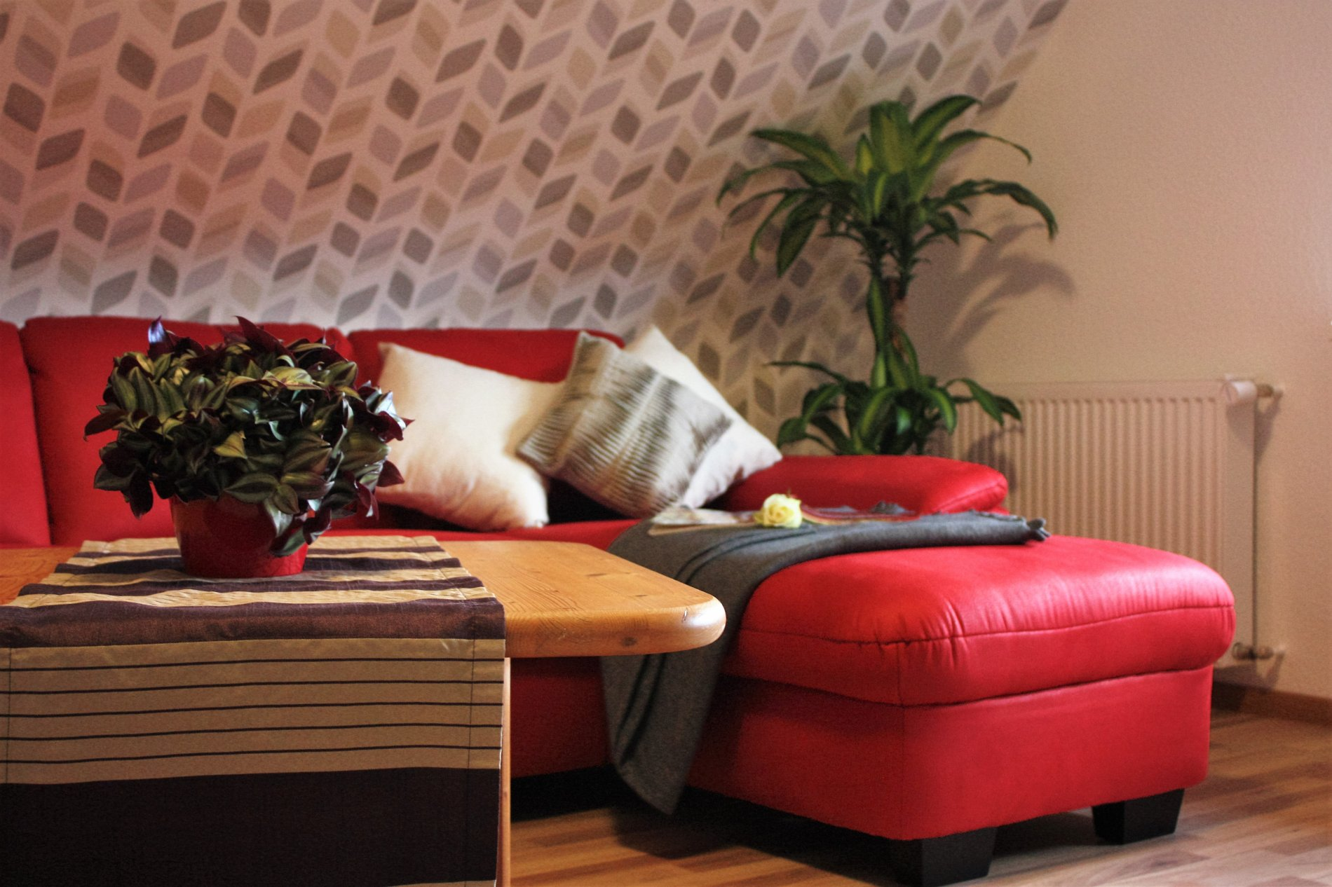 Rote Couch mit gemusterter Tapete