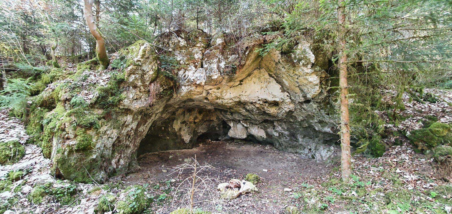 Der breite Eingang zur Kühstellenhöhle liegt mitten im Wald.