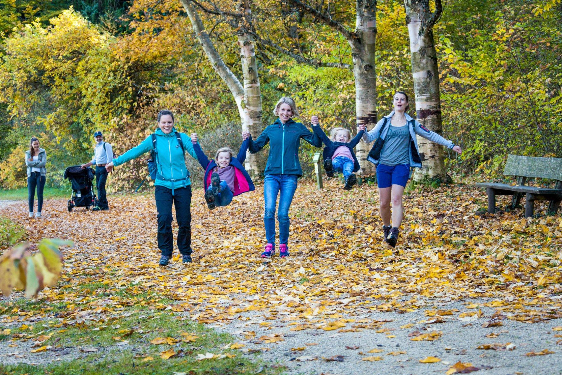 Drei Erwachsene haben zwei Kinder an beiden Händen und schleudern sie lachend nach vorne in die Luft. Sie sind mit im Wald, der herbstlich bunt gefärbt ist. Im Hintergrund schauen ihnen zwei weitere Erwachsene zu.