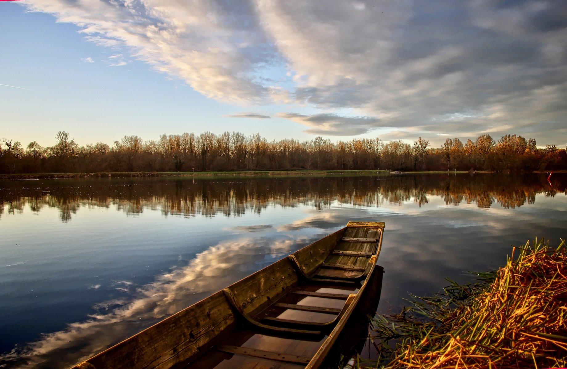 Fischerboot auf dem Altrhein