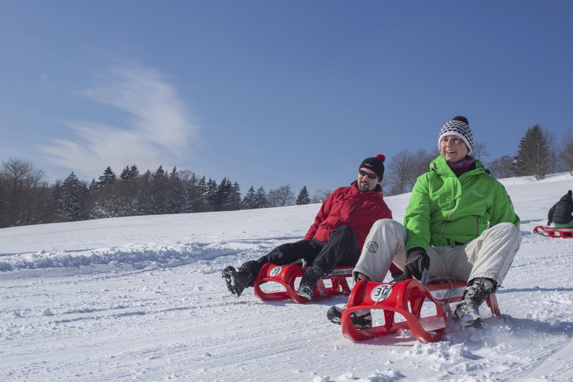 Rodler im Schnee
