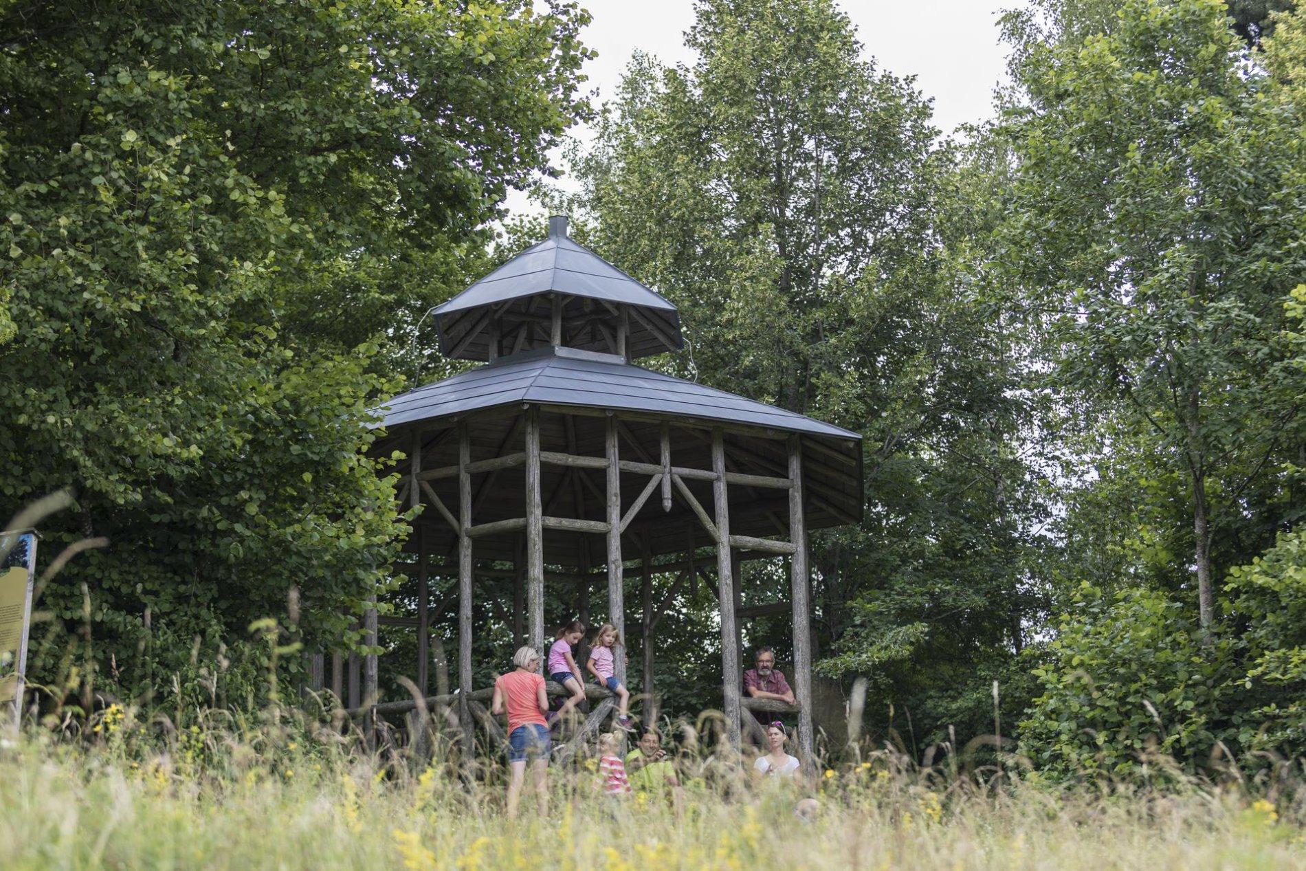 Mehrere Personen sitzen um einen Pavillon aus Holz. Drumherum ist Wald.