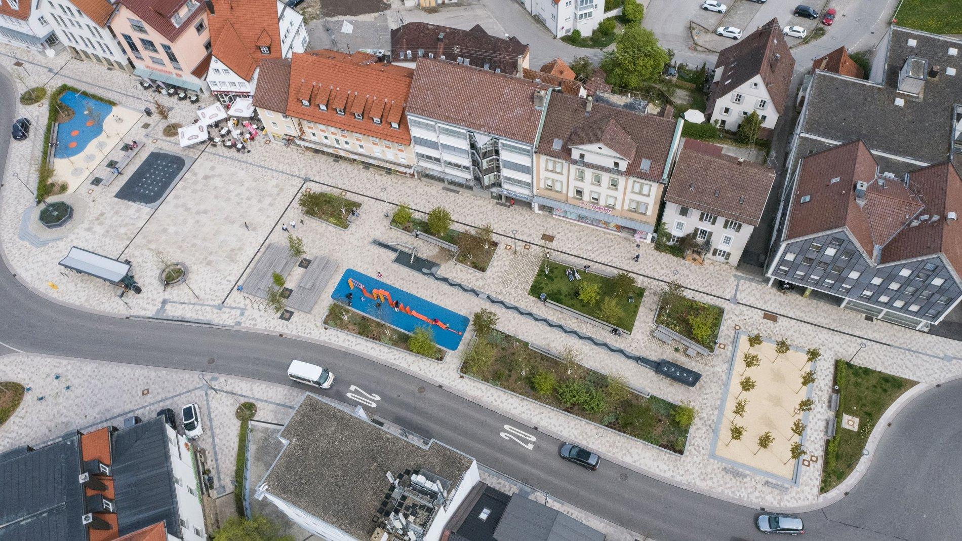 Luftbild Obertorplatz Hechingen März 2021