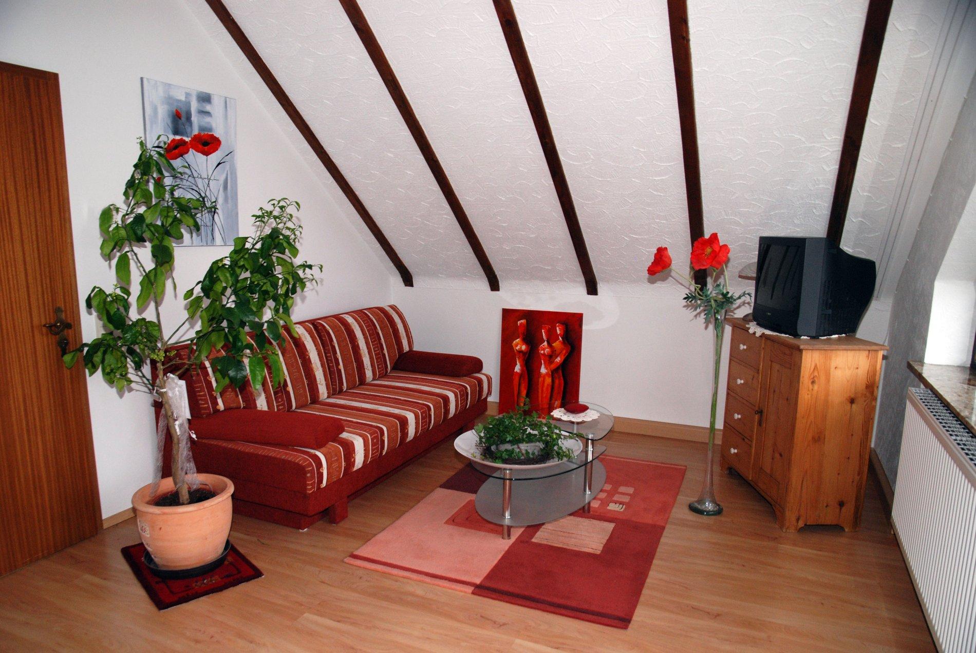 Rote Couch, Glascouchtisch, große Pflanze, roter Teppich und Fernseher auf Holzkommode