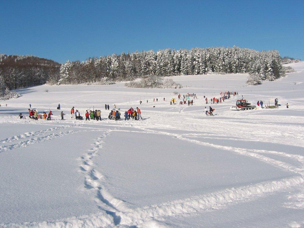 Ein Skihang mit vielen bunt gekleideten Menschen beim Skifahren bzw. rodeln
