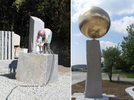 Granit-Schaubetrieb (links) und Skulptur am Sonnensystemwanderweg (rechts)