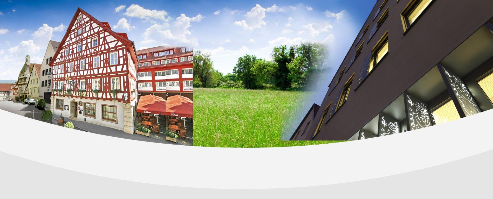Eine Collage eines Fachwerkhauses, einer Wiese und eines weiteren Hauses.