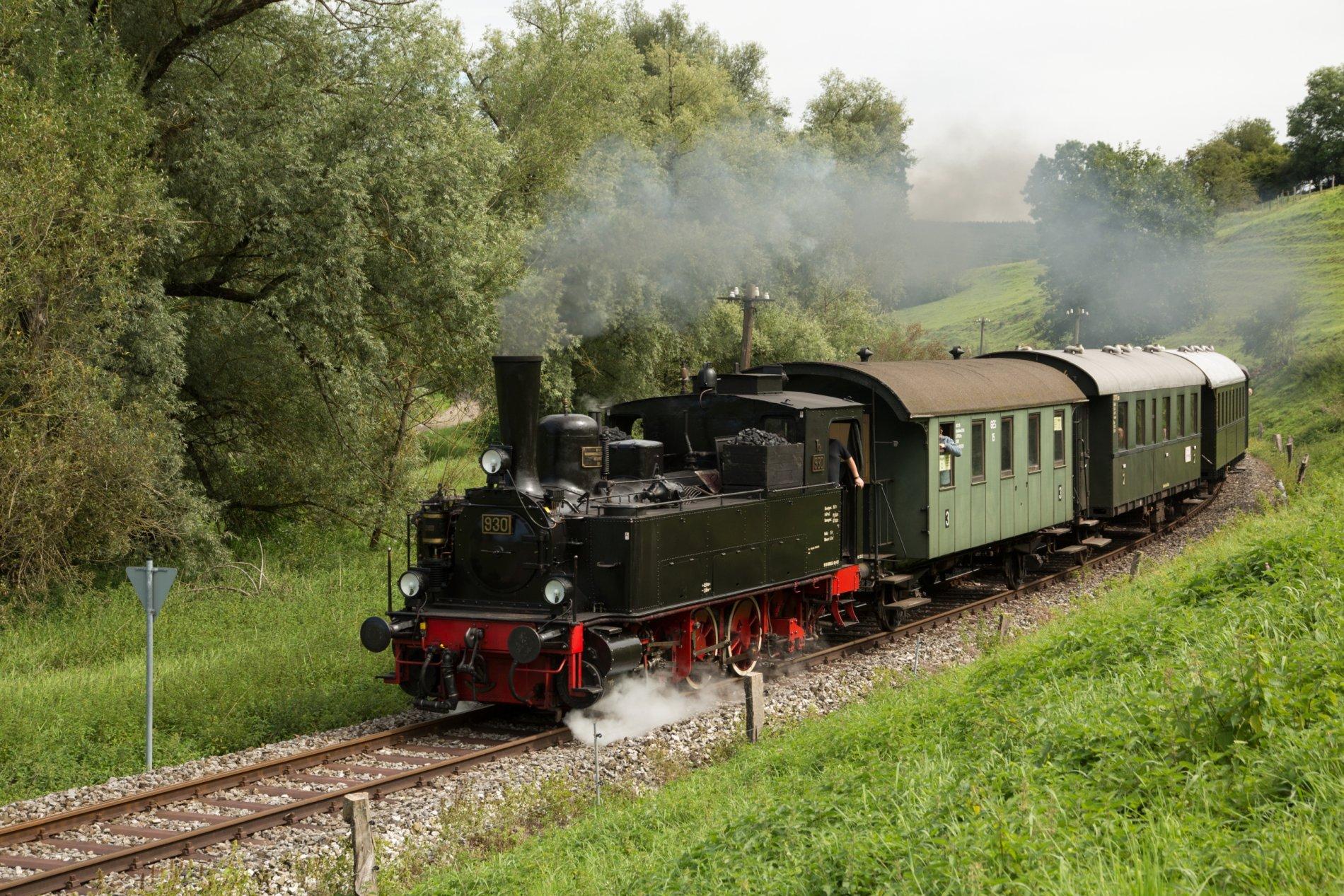 Eine Person schaut aus dem Fahrenden Zug.
