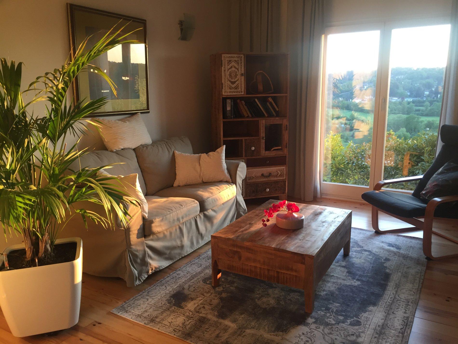 Wohnzimmer mit Sofa, Sessel, Couchtisch und Bücherregal
