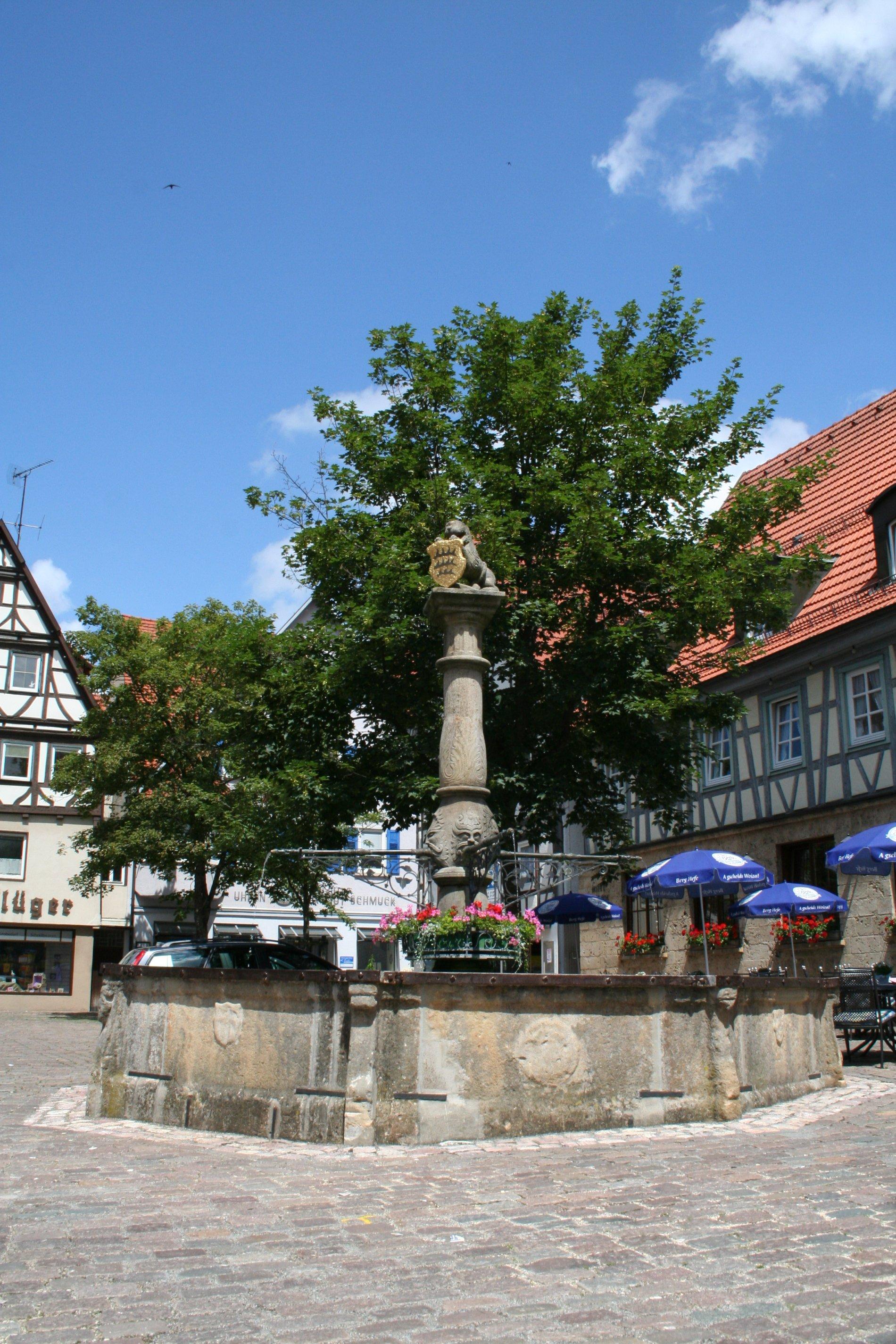 Auf dem Marktbrunnen in der Mitte an der Säule sind Blumen angebracht. Hinter dem Brunnen stehen Bäume und Häuser