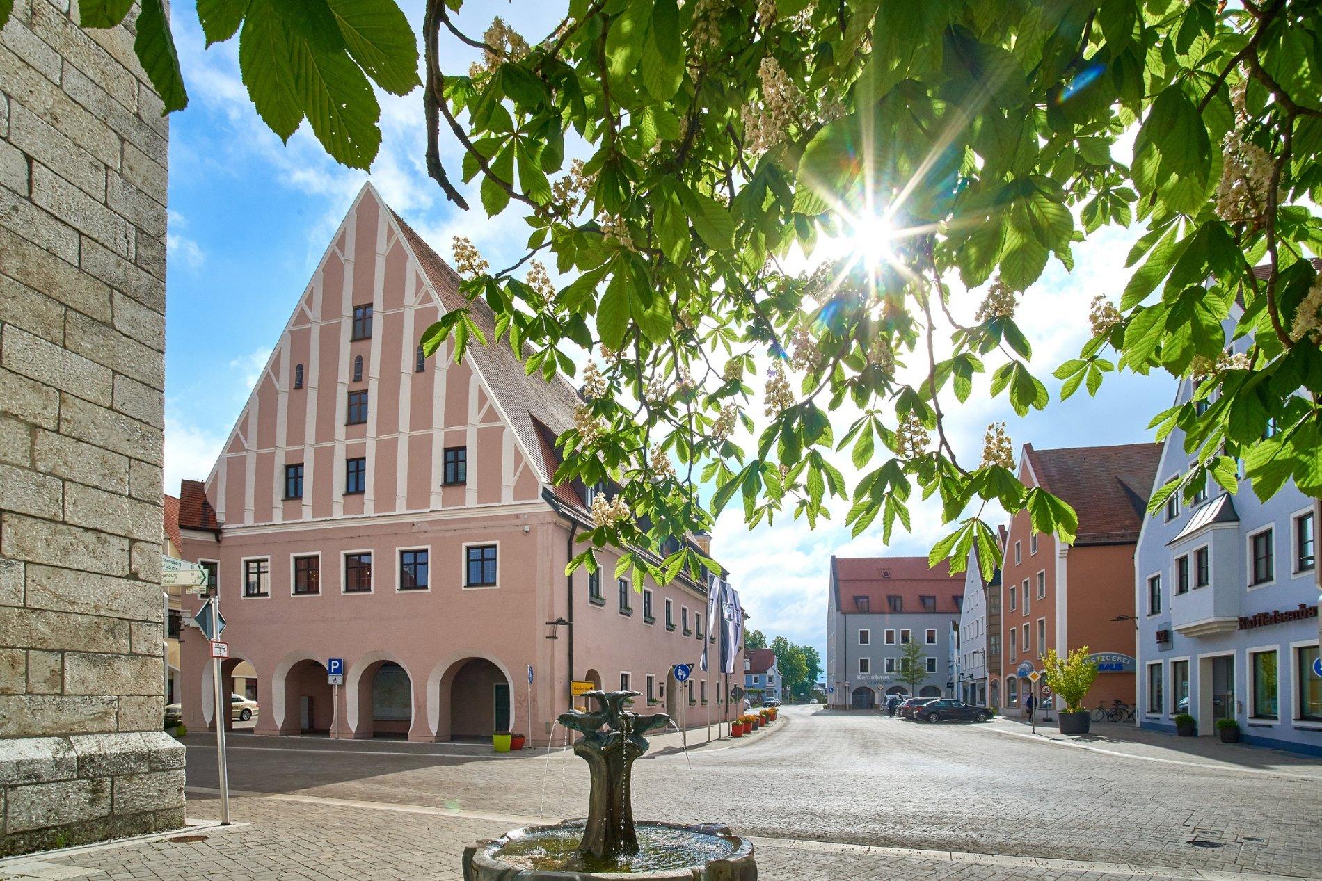 Blick auf die Innenstadt von Neustadt an der Donau