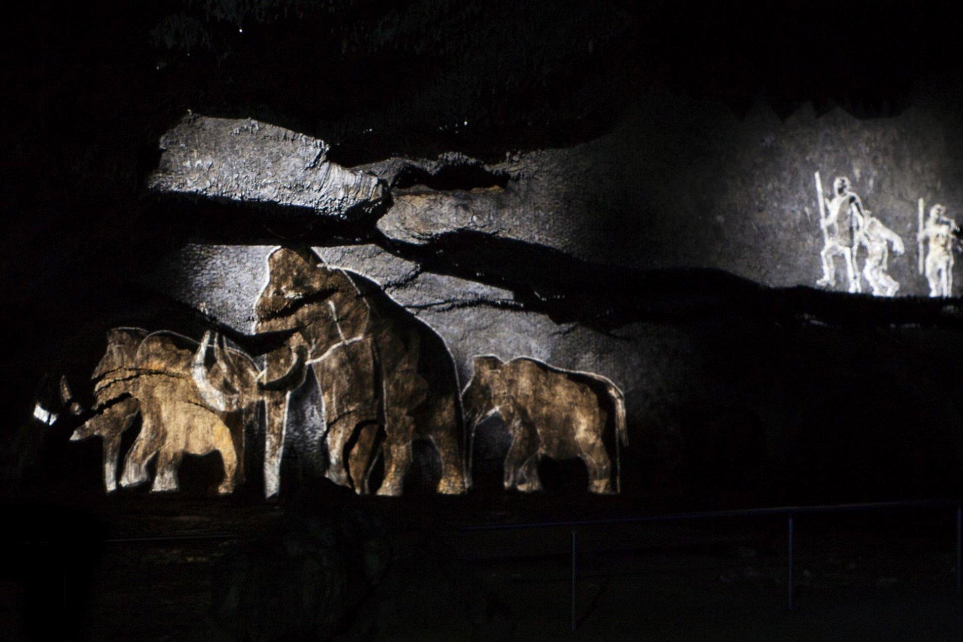 Projektion in der Tropfsteinhöhle Schulerloch in Essing