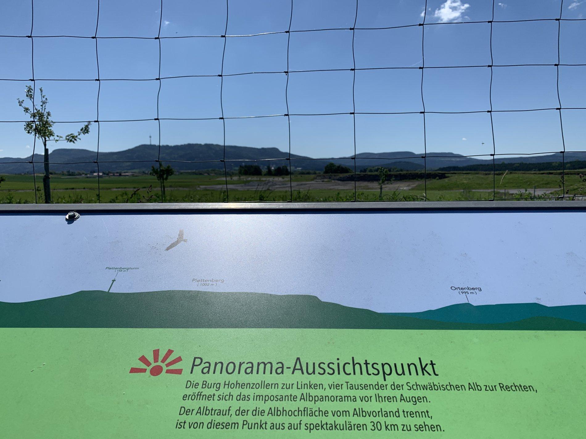 Panoramakarte auf dem Rundweg Dautmergen mit Blick zum Plettenberg