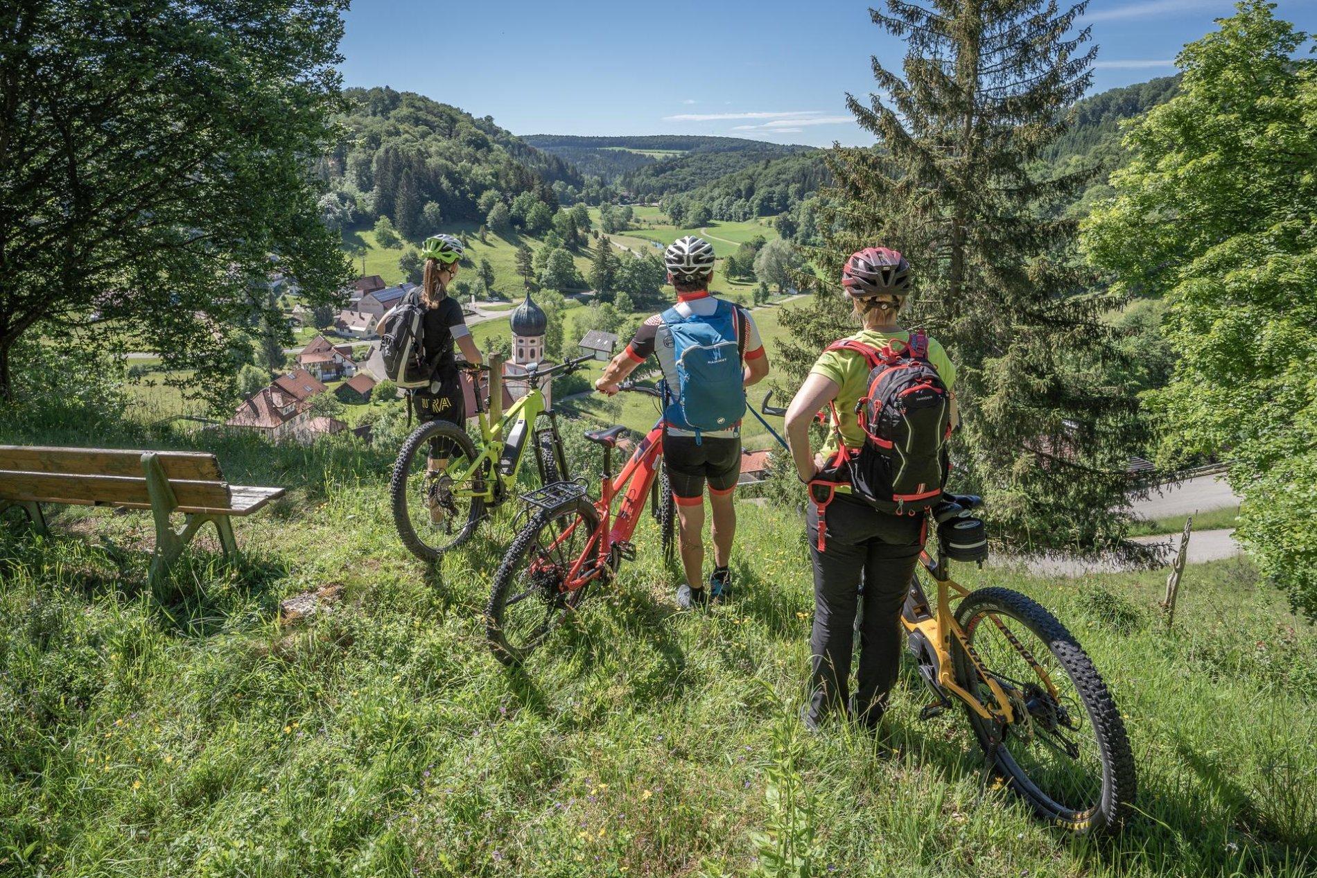 Drei Radfahrer*innen stehen an einem Aussichtspunkt und blicken ins Tal. Unten ist ein kleines Dorf. Es ist Sommer.