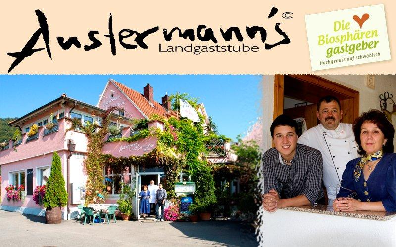 Eine Collage von drei Bildern. Das Logo der Austermann´s Landgaststube und das Logo der Biosphärengastgeber. Das restaurant von außen, mit den Inhabern, die vor dem Eingang stehen. Die Familie Austermann, die in die Kamera lächelt.