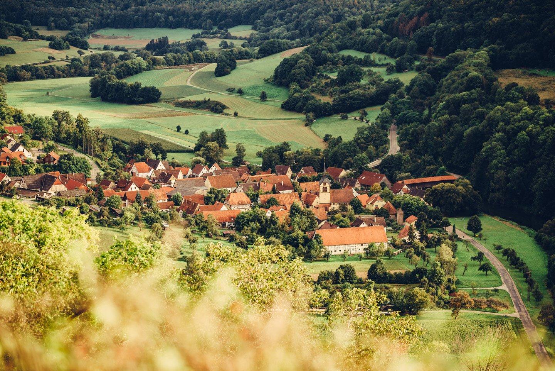Ansicht von oben auf Langenburg-Bächlingen - Kocher-Jagst-Radweg Etappe 5