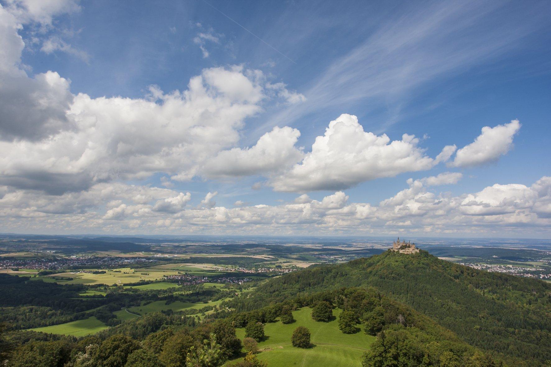Blick durch Blätter auf die Burg Hohenzollern