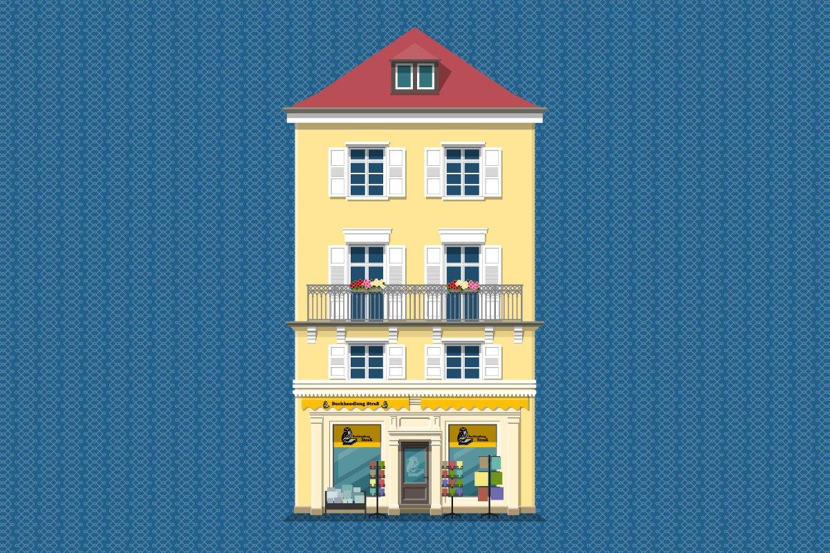 gelbes Haus mit Ladengeschäft Buchhandlung Straß