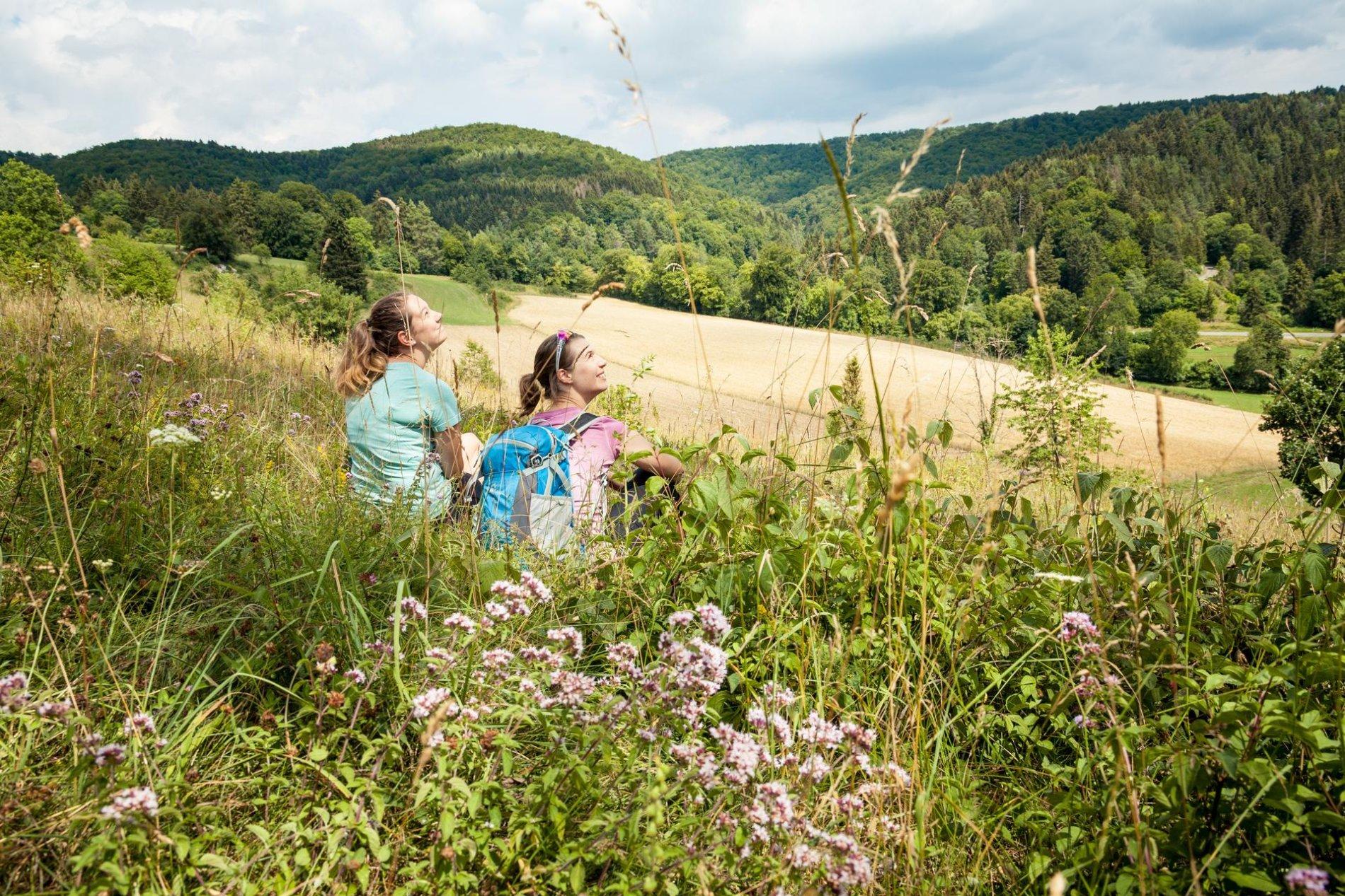 Zwei Wanderer*innen sitzen in einer hohen Blumenwiese und blicken in den leichtbewölkten Himmel.