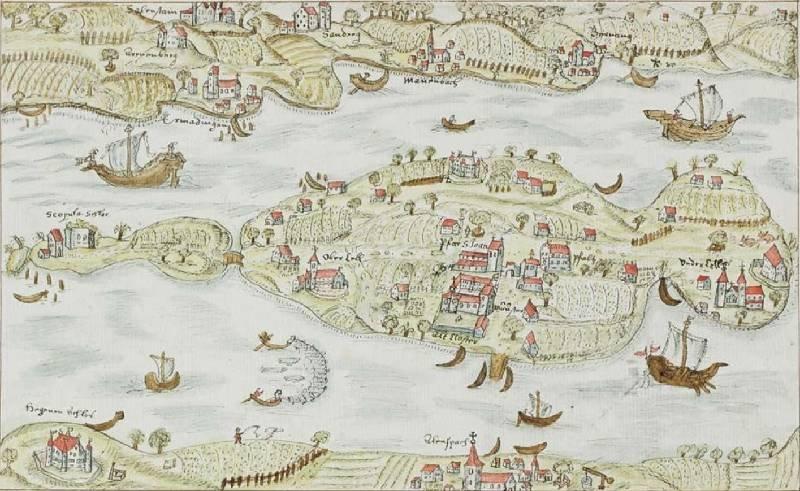 Zeichnung der Insel Reichenau im Untersee