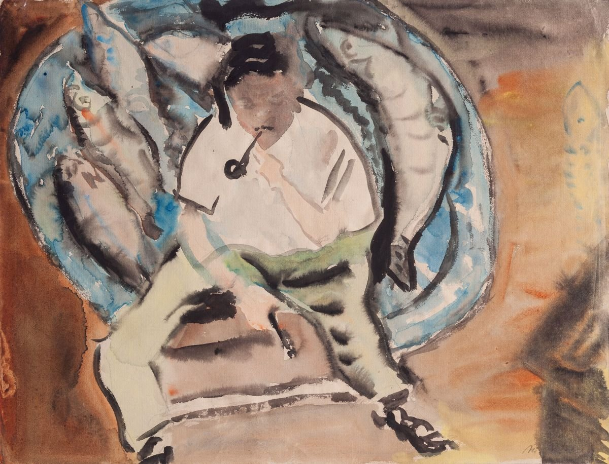 Maria Proelss. Macketanz malt Fische, 1948, Aquarell
