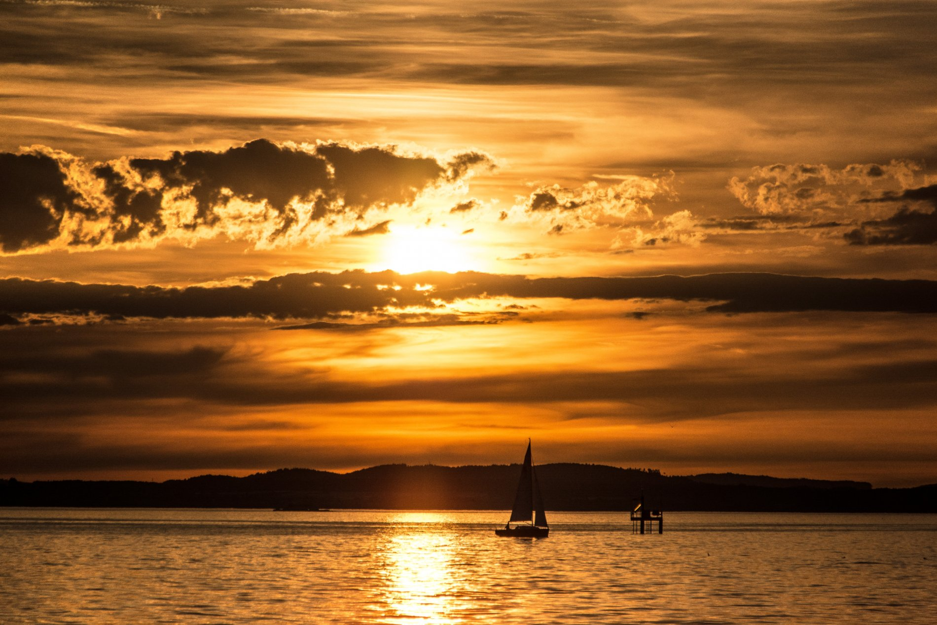 Sonnenuntergang vor Langenargen