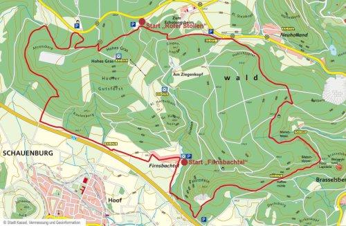 topografische Larte Mountainbike Rundtour
