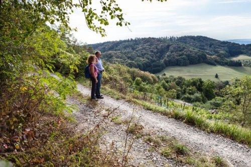Ein Mann und eine Frau auf einem Feldweg, dahinter Landschaft