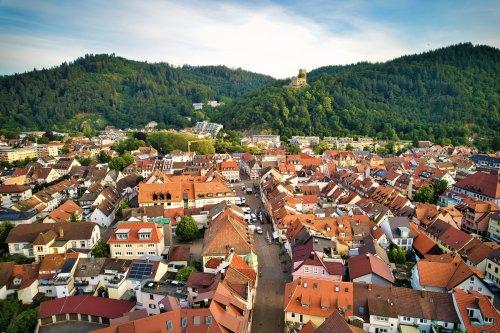 Kleinstadt mit Wald und Burgruine im Hintergrund