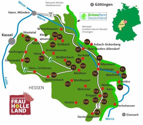 Übersicht zertifizierte Wanderwege im Geo-Naturpark Frau-Holle-Land