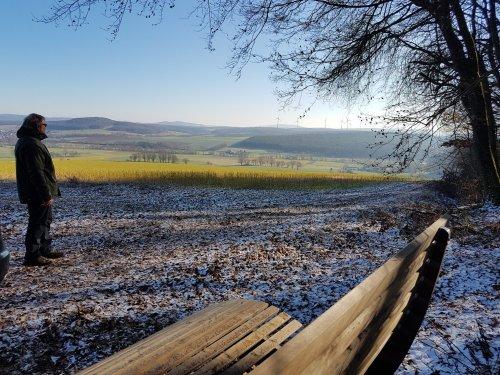 Aussicht auf die Felder und Waldliege