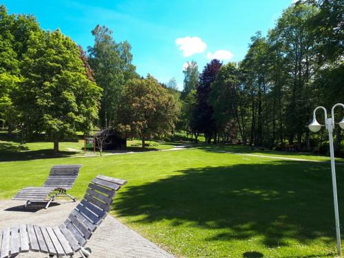 Ausblick vom Haus des Gastes auf den Kurpark