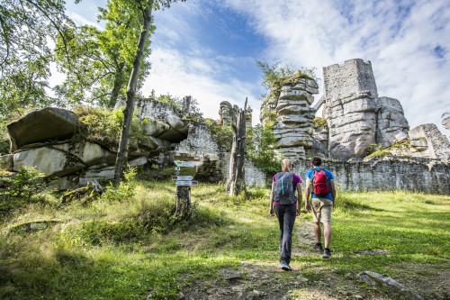 Burgruine Weißenstein im Oberpfälzer Wald.