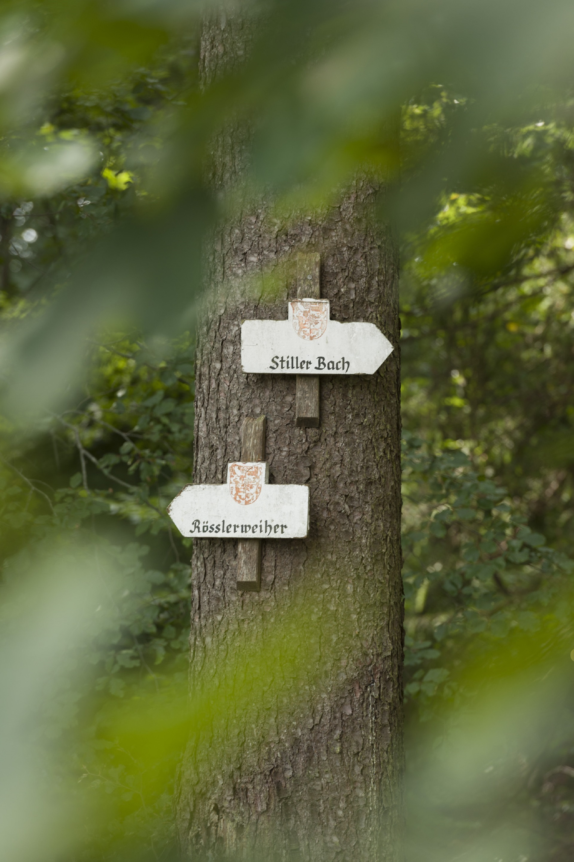 Hinweisschilder beim Stillen Bach in Weingarten