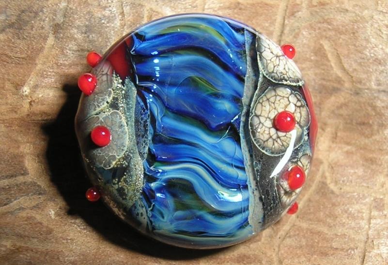 Glasperle blau