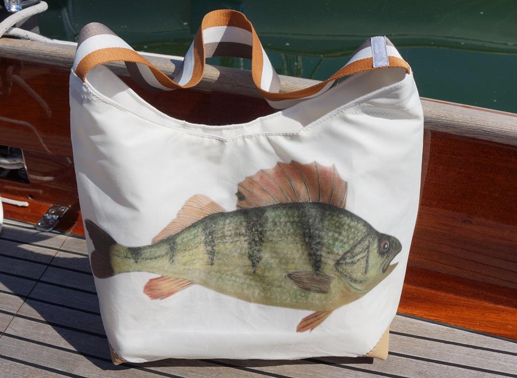 Tasche aus Segeltuch mit Bild Fisch
