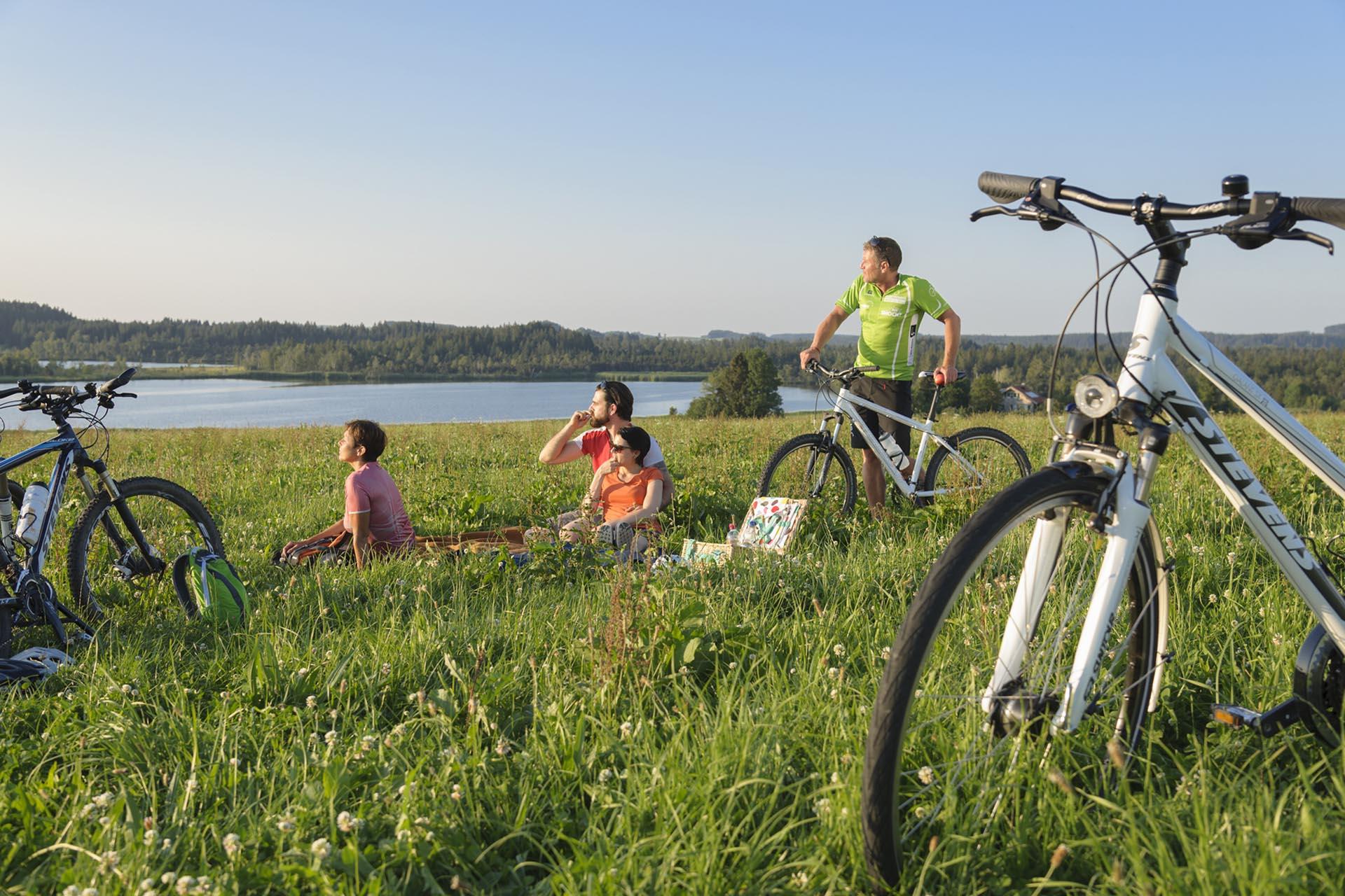 Picknick einer Radlergruppe im Allgäu